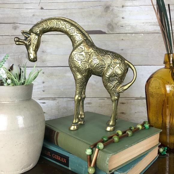 Vintage Brass Giraffe Figurine MidMod Safari Decor